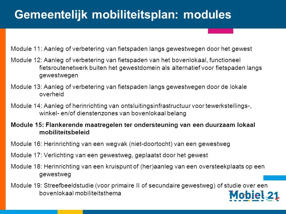 Gemeentelijk mobiliteitsplan: modules