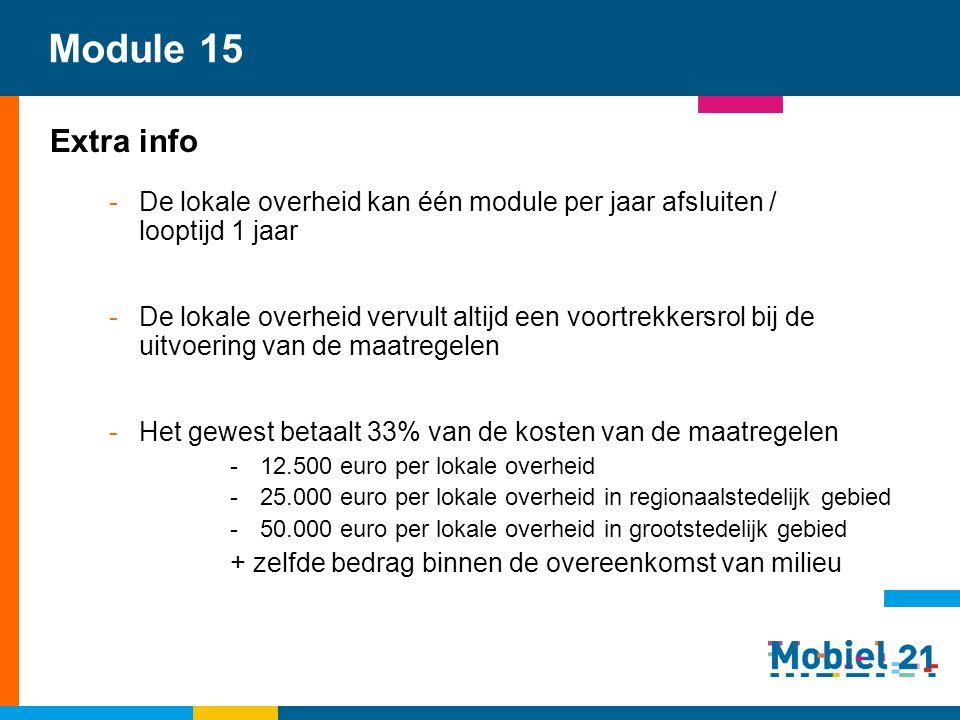 Module 15 Extra info. De lokale overheid kan één module per jaar afsluiten / looptijd 1 jaar.