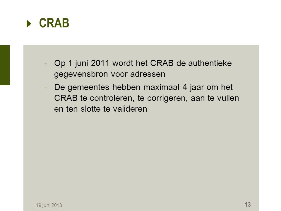 CRAB Op 1 juni 2011 wordt het CRAB de authentieke gegevensbron voor adressen.