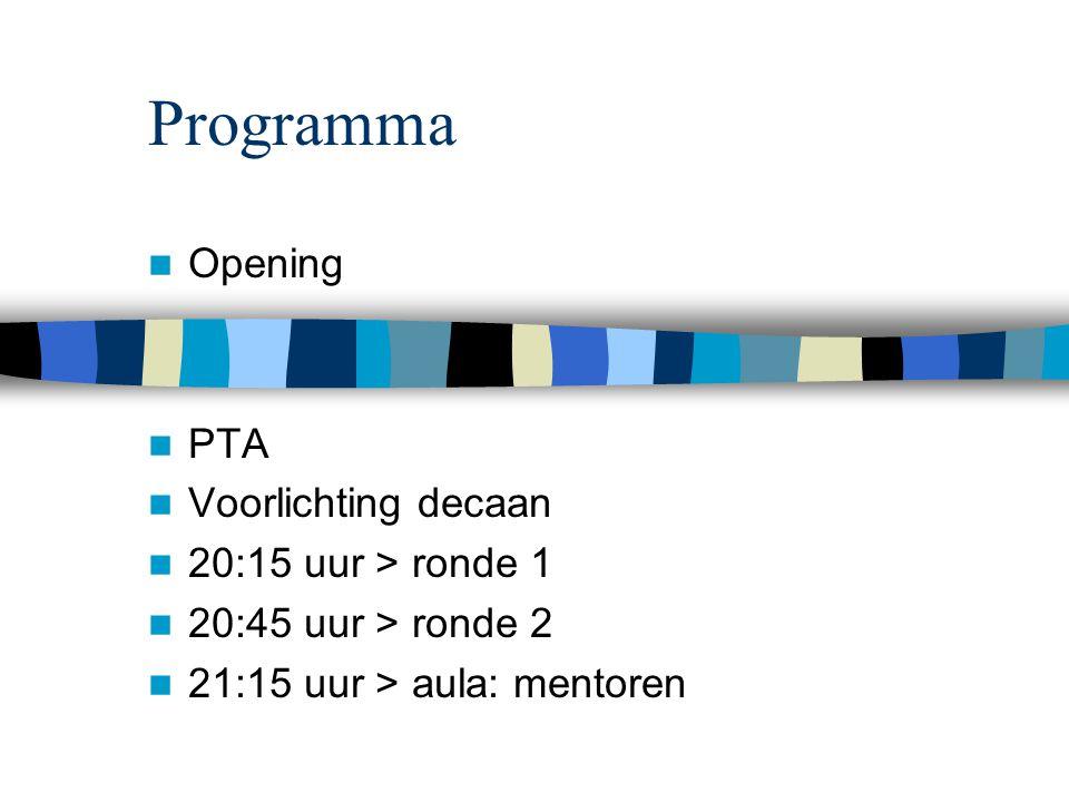 Programma Opening PTA Voorlichting decaan 20:15 uur > ronde 1