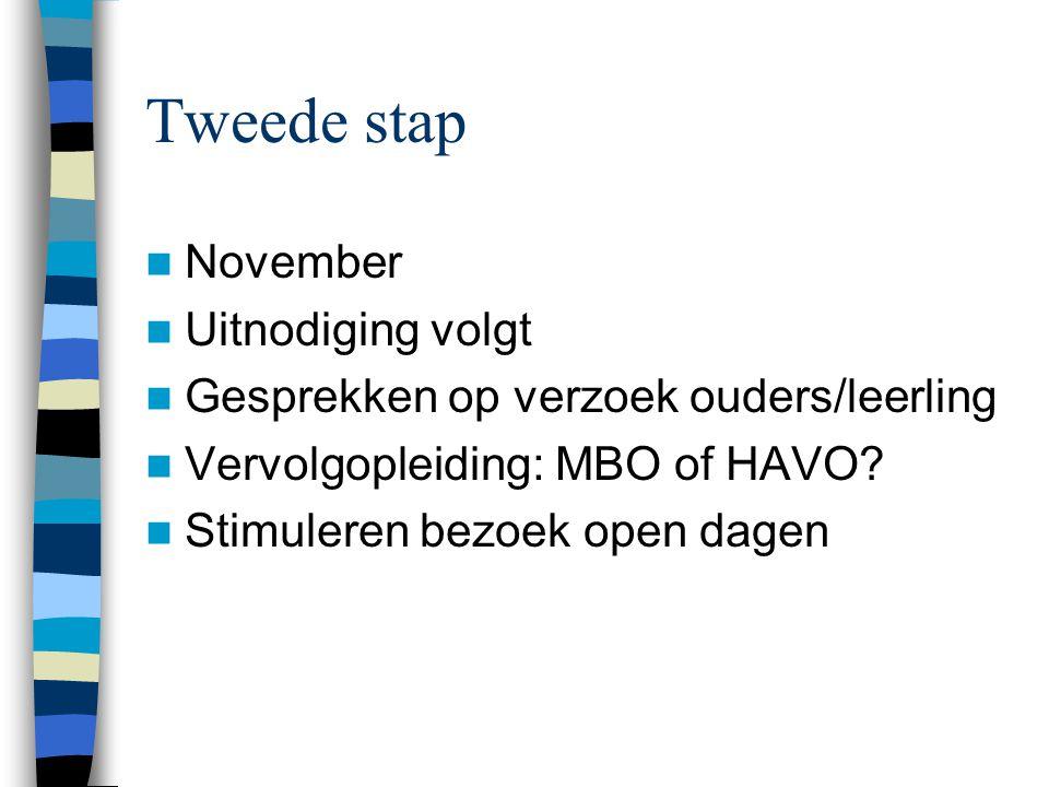 Tweede stap November Uitnodiging volgt