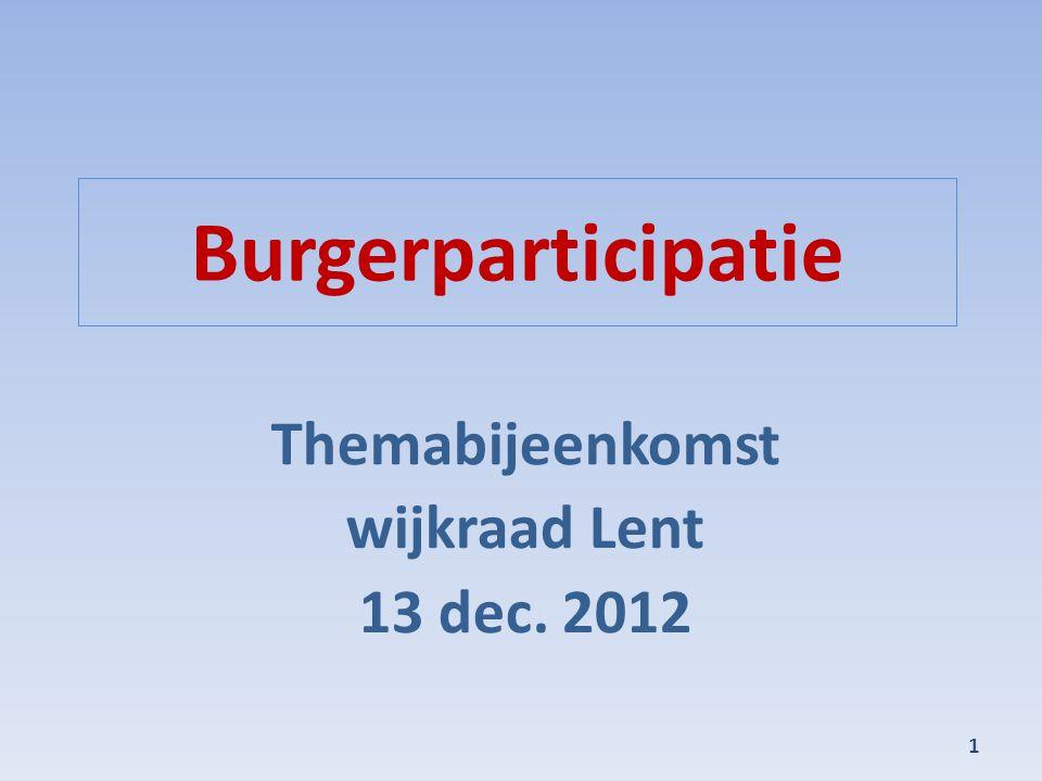 Themabijeenkomst wijkraad Lent 13 dec. 2012