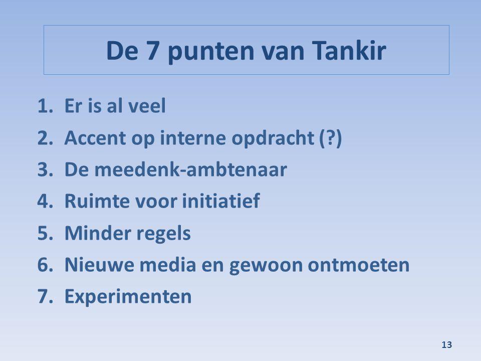 De 7 punten van Tankir Er is al veel Accent op interne opdracht ( )