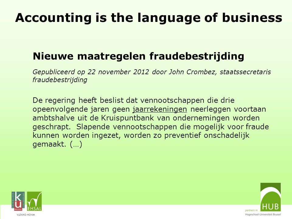 Accounting is the language of business