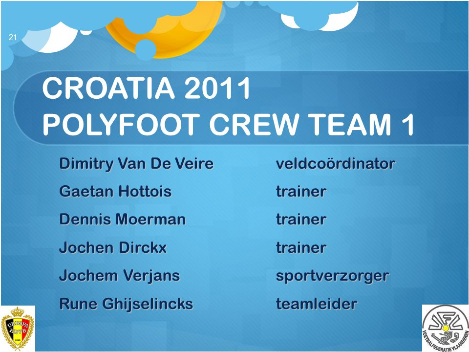CROATIA 2011 POLYFOOT CREW TEAM 1