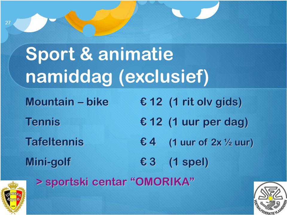 Sport & animatie namiddag (exclusief)