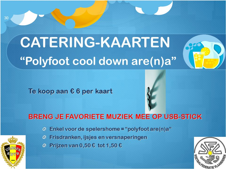 CATERING-KAARTEN Polyfoot cool down are(n)a
