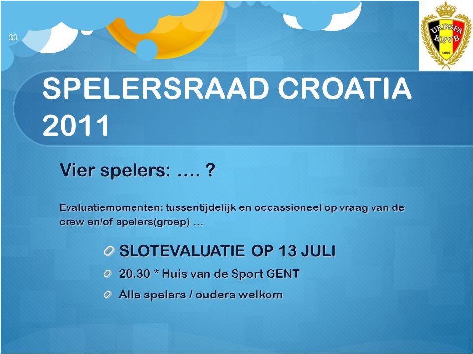 SPELERSRAAD CROATIA 2011 Vier spelers: ….