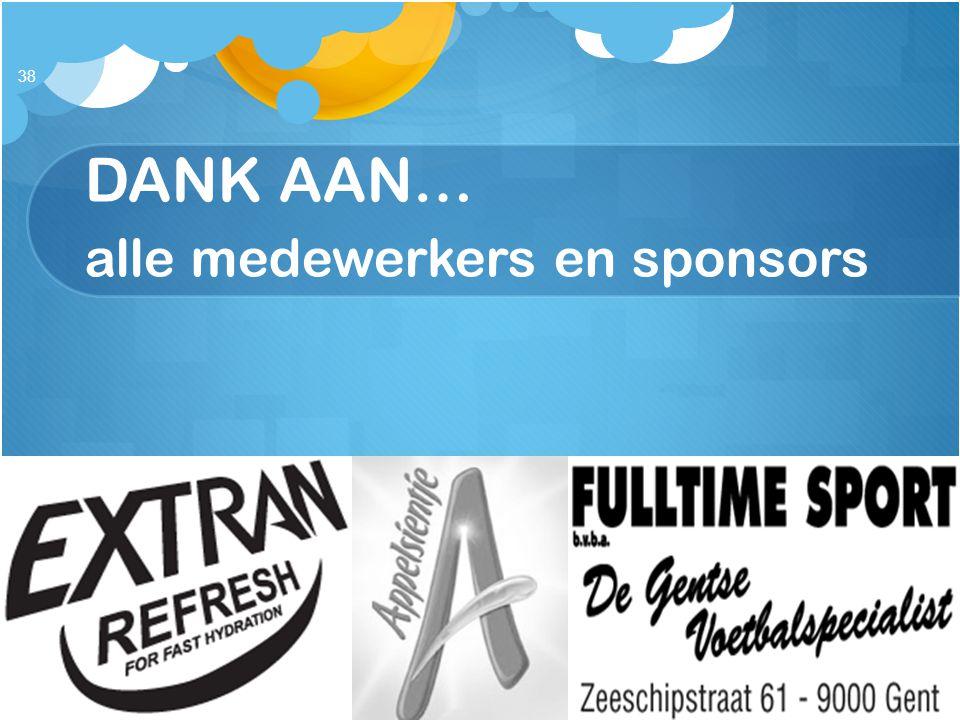 DANK AAN… alle medewerkers en sponsors
