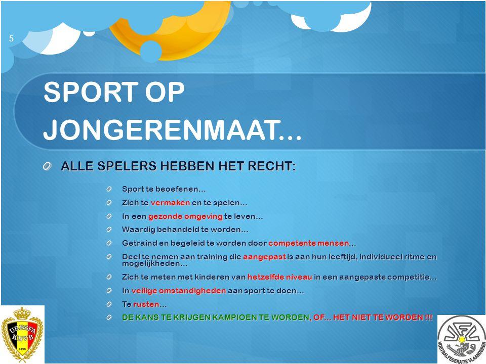 SPORT OP JONGERENMAAT... ALLE SPELERS HEBBEN HET RECHT:
