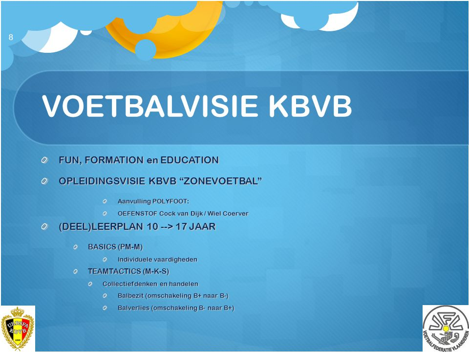 VOETBALVISIE KBVB FUN, FORMATION en EDUCATION