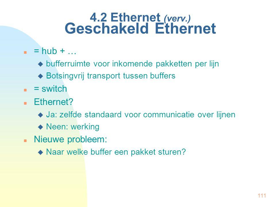 4.2 Ethernet (verv.) Geschakeld Ethernet