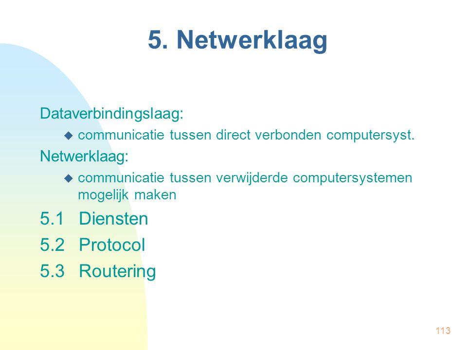 5. Netwerklaag 5.1 Diensten 5.2 Protocol 5.3 Routering