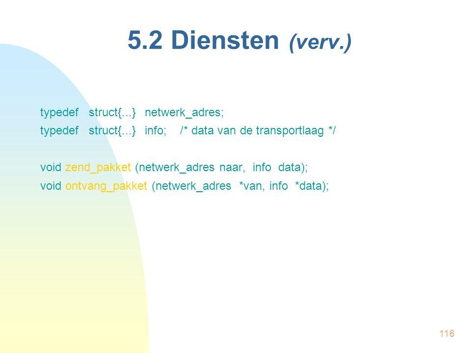 5.2 Diensten (verv.) typedef struct{...} netwerk_adres;