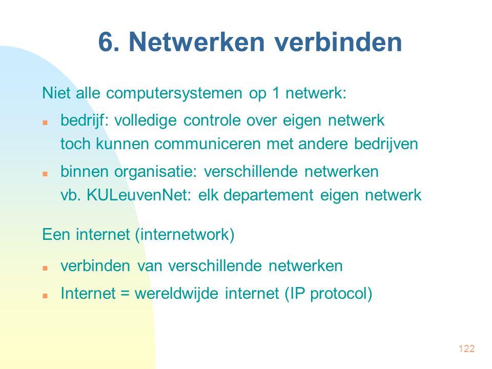 6. Netwerken verbinden Niet alle computersystemen op 1 netwerk: