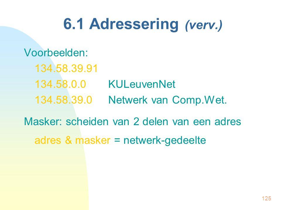 6.1 Adressering (verv.) Voorbeelden: 134.58.39.91