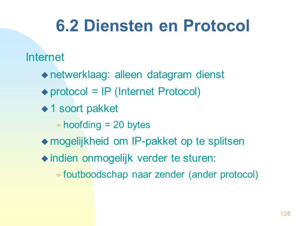 6.2 Diensten en Protocol Internet netwerklaag: alleen datagram dienst