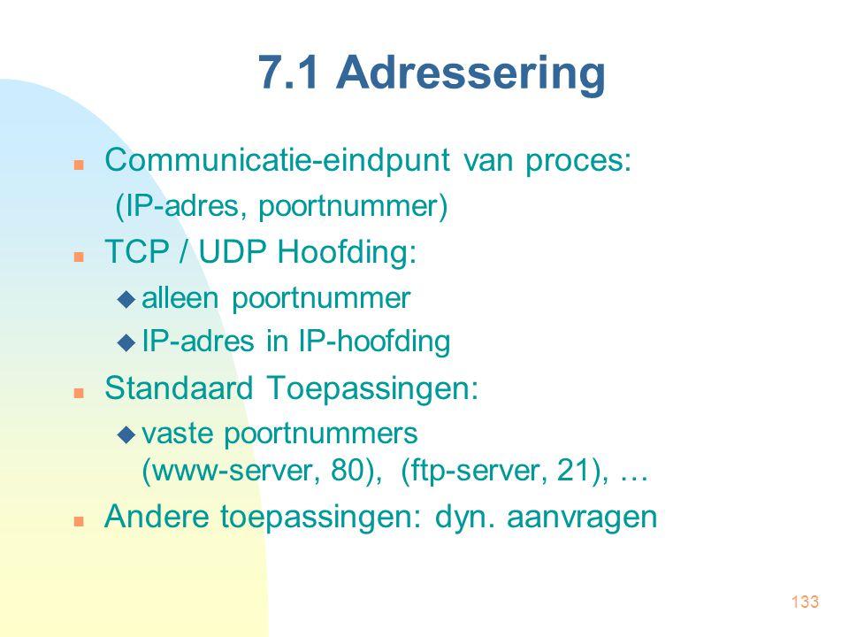 7.1 Adressering Communicatie-eindpunt van proces: TCP / UDP Hoofding: