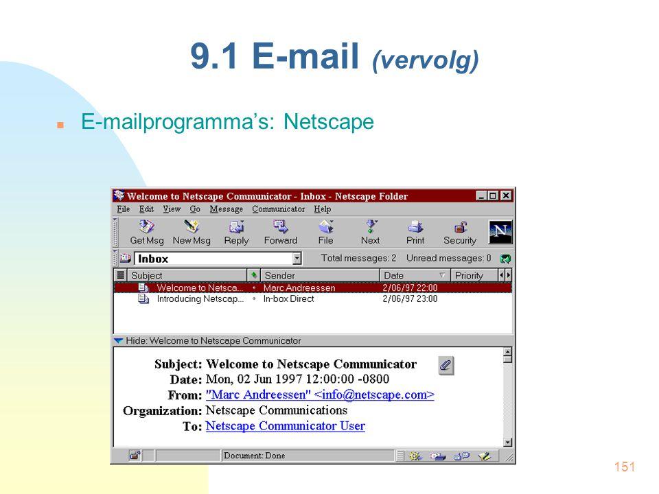 9.1 E-mail (vervolg) E-mailprogramma's: Netscape