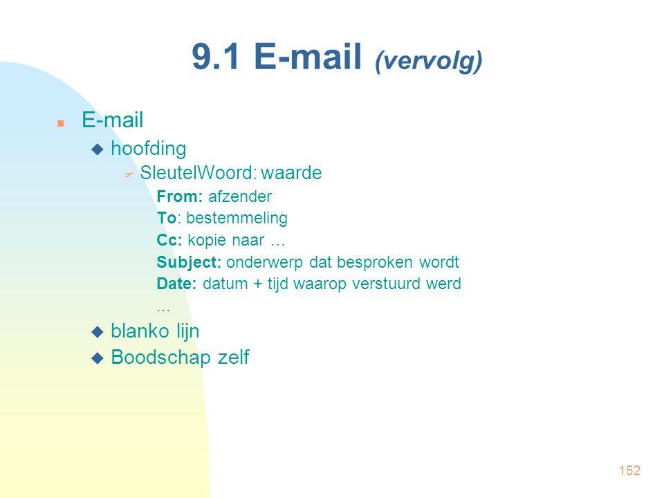 9.1 E-mail (vervolg) E-mail hoofding blanko lijn Boodschap zelf