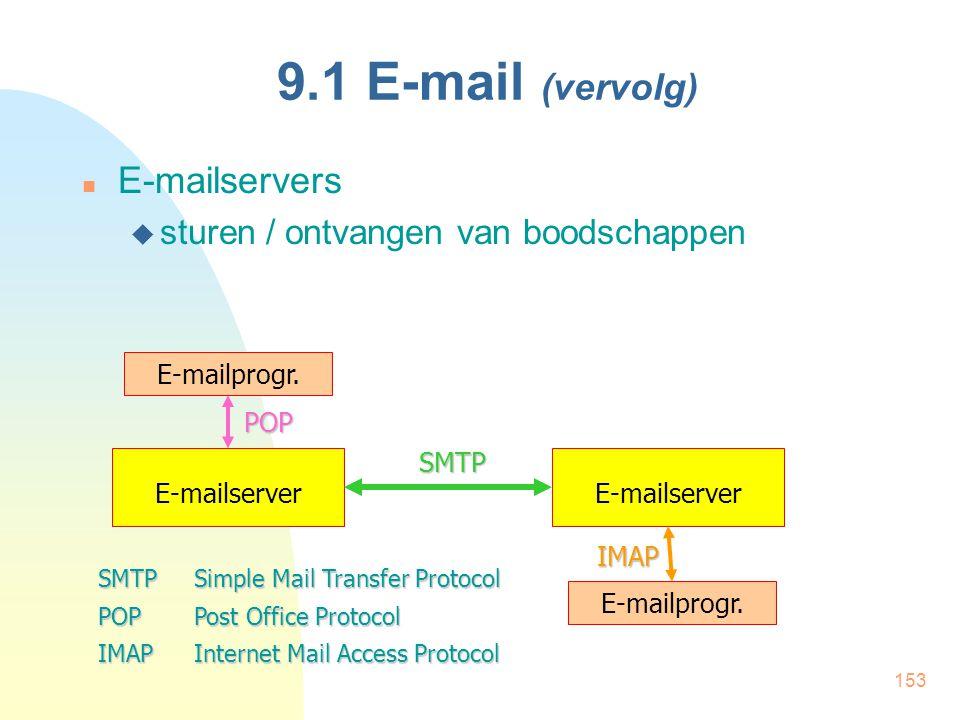 9.1 E-mail (vervolg) E-mailservers sturen / ontvangen van boodschappen