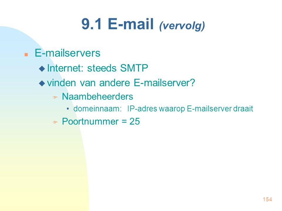 9.1 E-mail (vervolg) E-mailservers Internet: steeds SMTP
