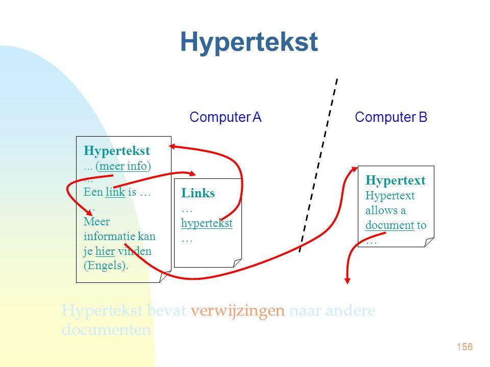 Hypertekst Hypertekst bevat verwijzingen naar andere documenten