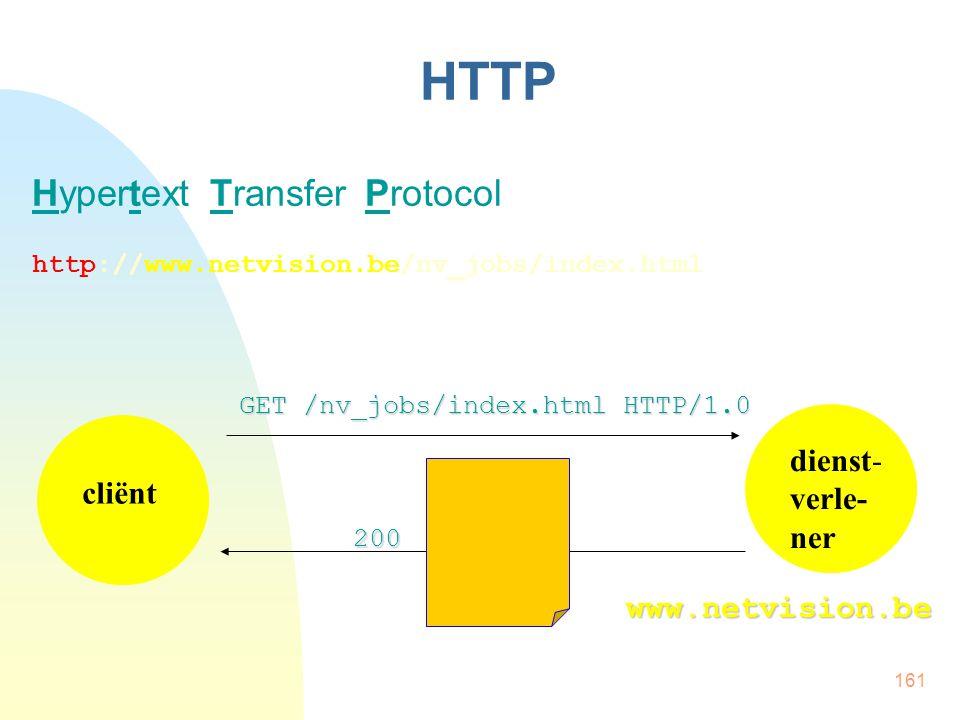 HTTP Hypertext Transfer Protocol dienst- verle-ner cliënt