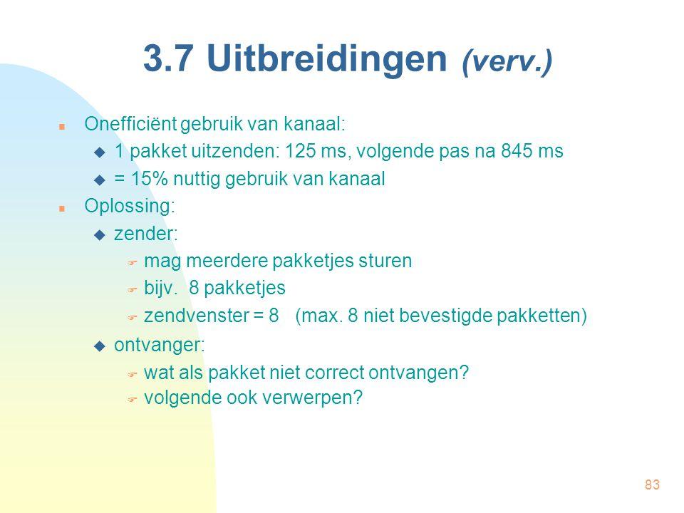 3.7 Uitbreidingen (verv.) Onefficiënt gebruik van kanaal: