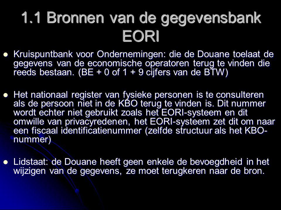 1.1 Bronnen van de gegevensbank EORI