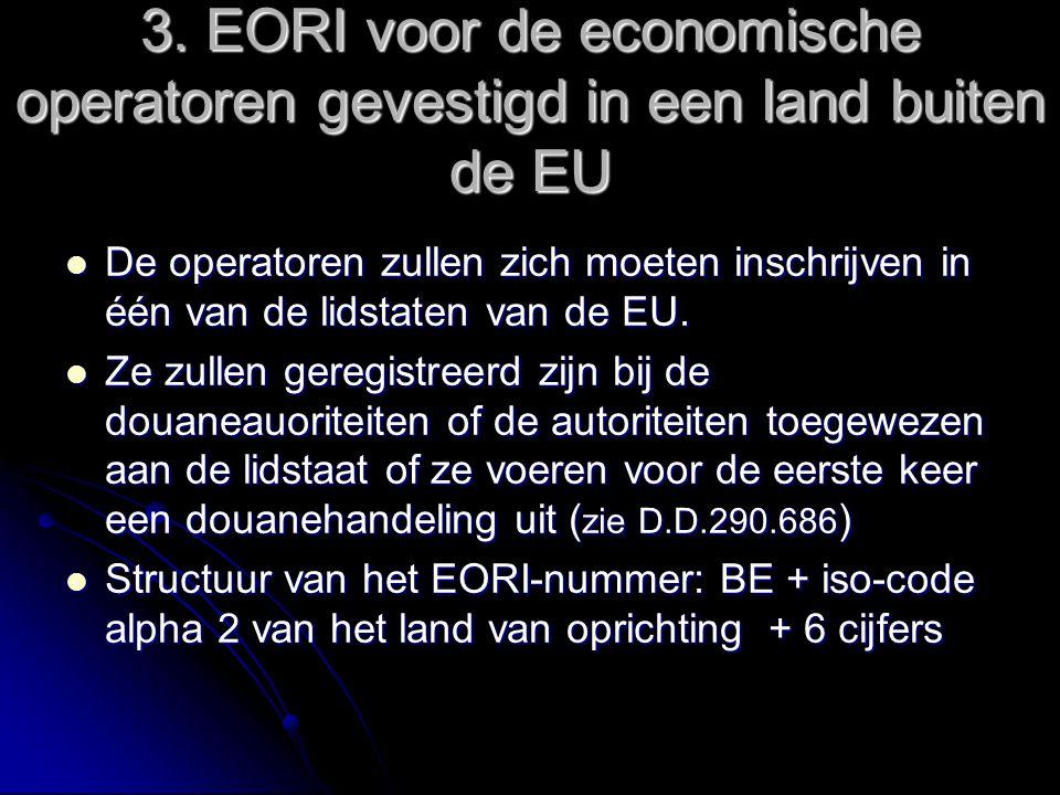 3. EORI voor de economische operatoren gevestigd in een land buiten de EU