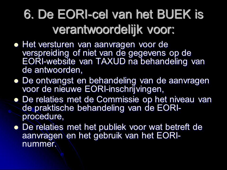 6. De EORI-cel van het BUEK is verantwoordelijk voor: