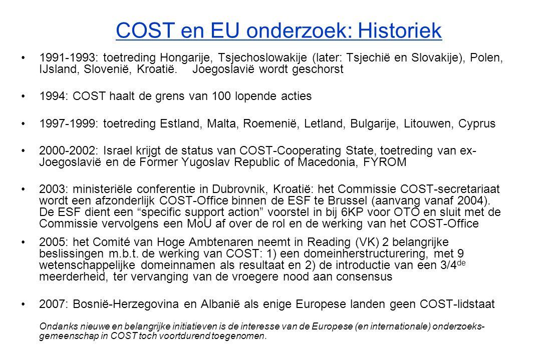 COST en EU onderzoek: Historiek