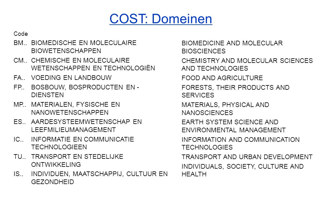 COST: Domeinen BM.. BIOMEDISCHE EN MOLECULAIRE BIOWETENSCHAPPEN