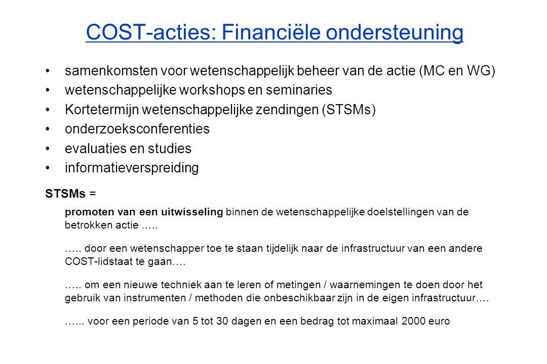 COST-acties: Financiële ondersteuning