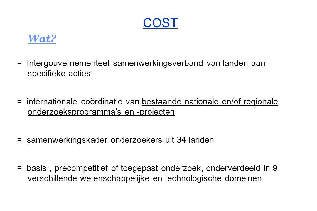 COST Wat = Intergouvernementeel samenwerkingsverband van landen aan specifieke acties.