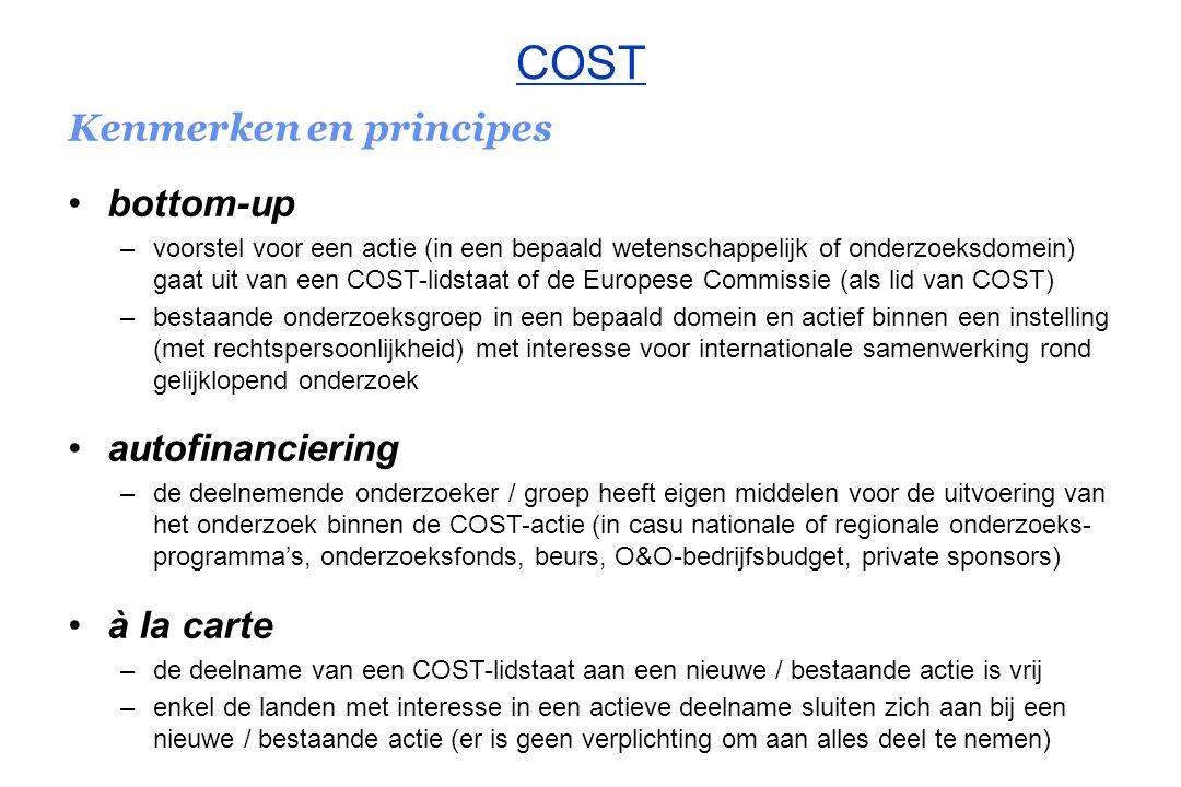 COST Kenmerken en principes bottom-up autofinanciering à la carte