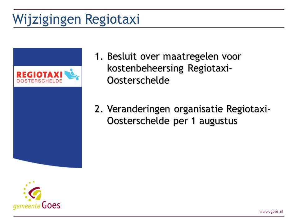 Wijzigingen Regiotaxi