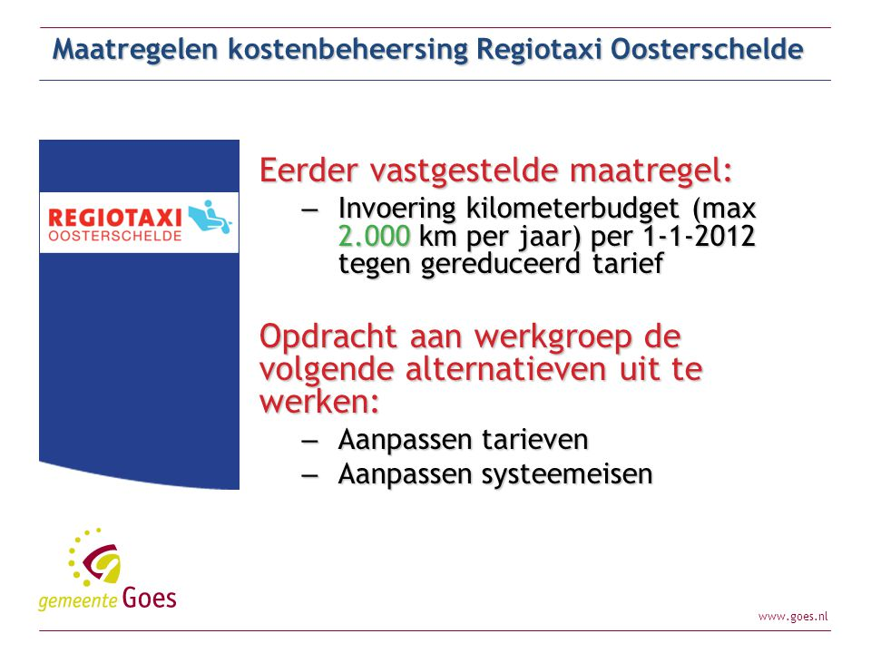 Maatregelen kostenbeheersing Regiotaxi Oosterschelde