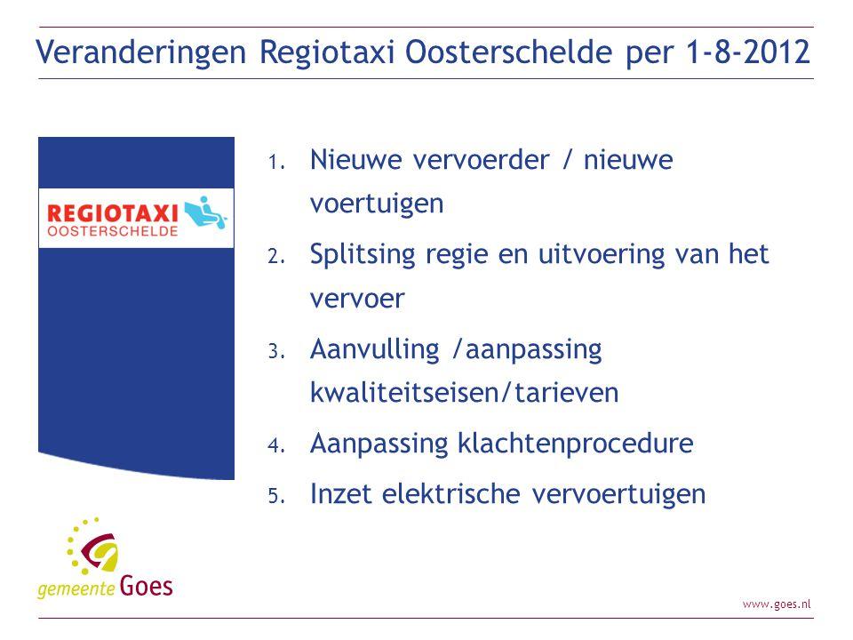 Veranderingen Regiotaxi Oosterschelde per 1-8-2012