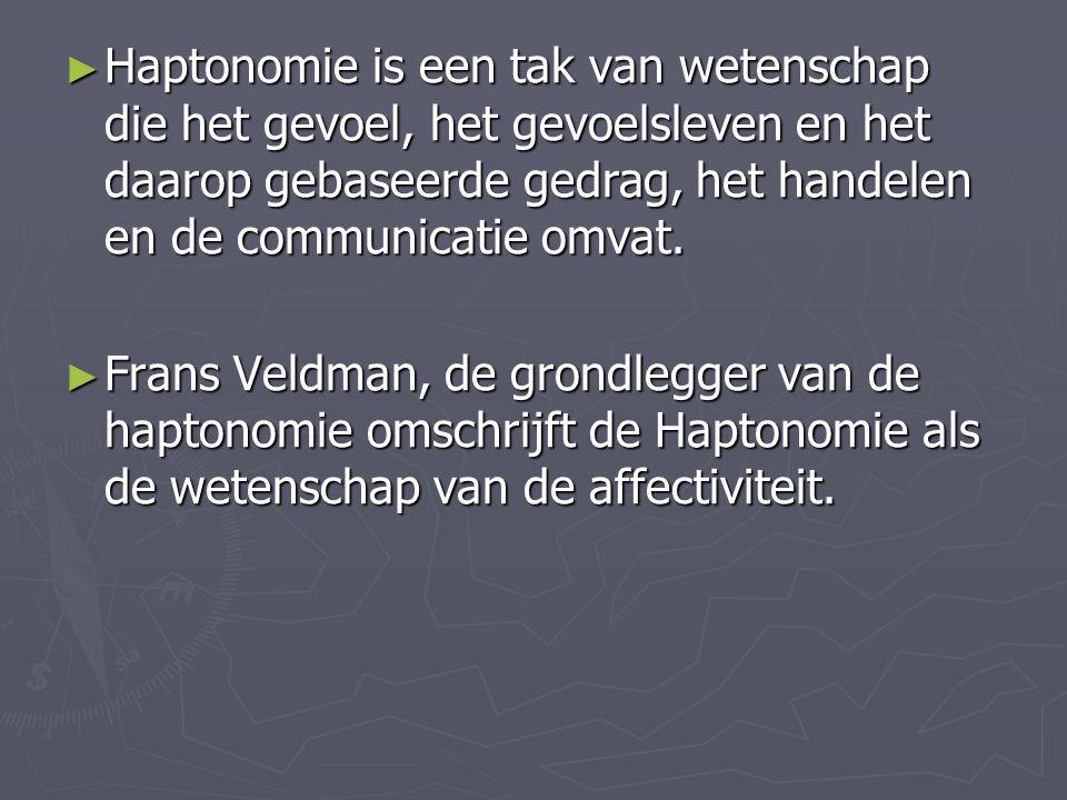 Haptonomie is een tak van wetenschap die het gevoel, het gevoelsleven en het daarop gebaseerde gedrag, het handelen en de communicatie omvat.