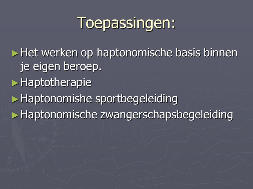 Toepassingen: Het werken op haptonomische basis binnen je eigen beroep. Haptotherapie. Haptonomishe sportbegeleiding.