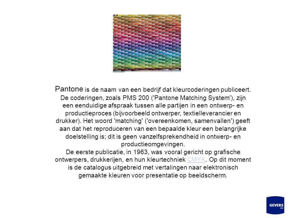 Pantone is de naam van een bedrijf dat kleurcoderingen publiceert