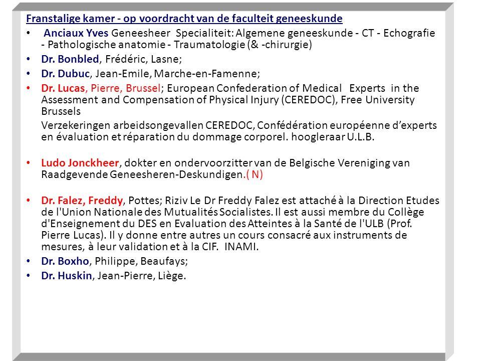 Franstalige kamer - op voordracht van de faculteit geneeskunde