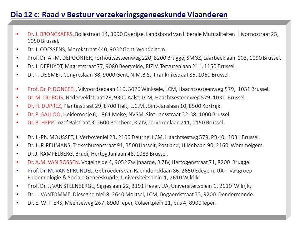 Dia 12 c: Raad v Bestuur verzekeringsgeneeskunde Vlaanderen