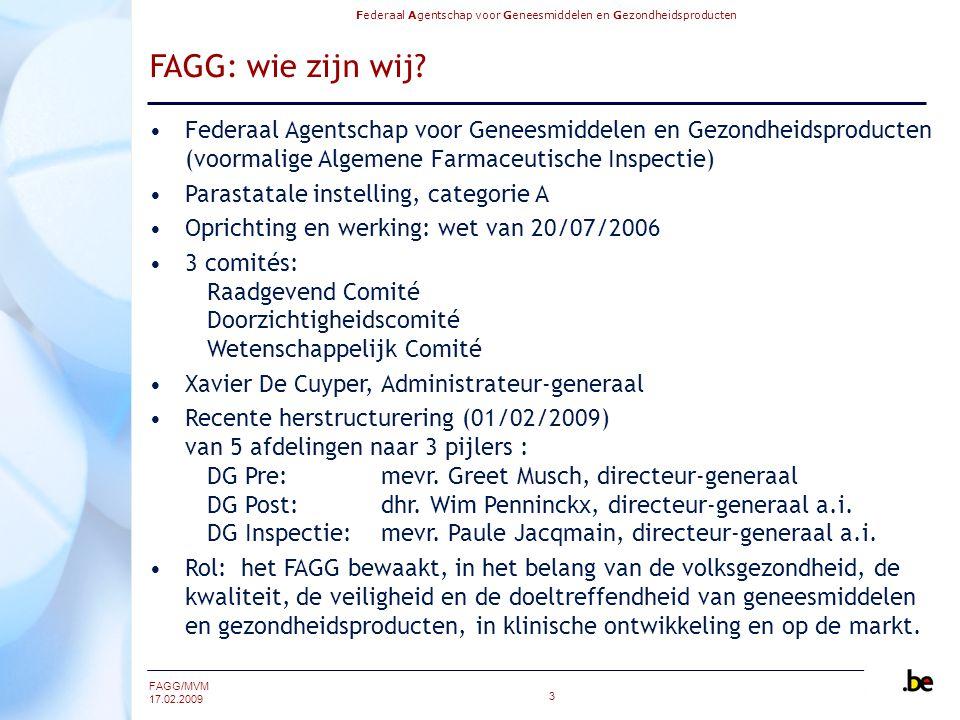 FAGG: wie zijn wij Federaal Agentschap voor Geneesmiddelen en Gezondheidsproducten (voormalige Algemene Farmaceutische Inspectie)
