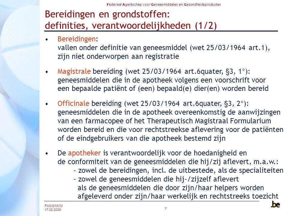 Bereidingen en grondstoffen: definities, verantwoordelijkheden (1/2)