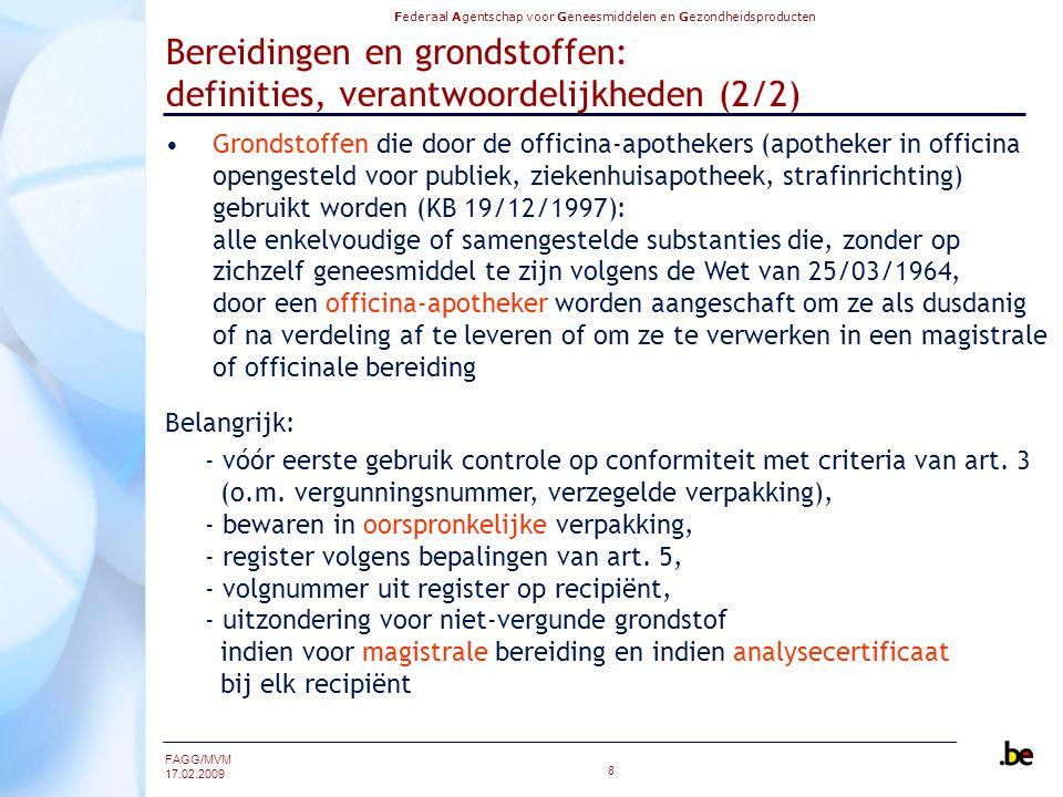 Bereidingen en grondstoffen: definities, verantwoordelijkheden (2/2)