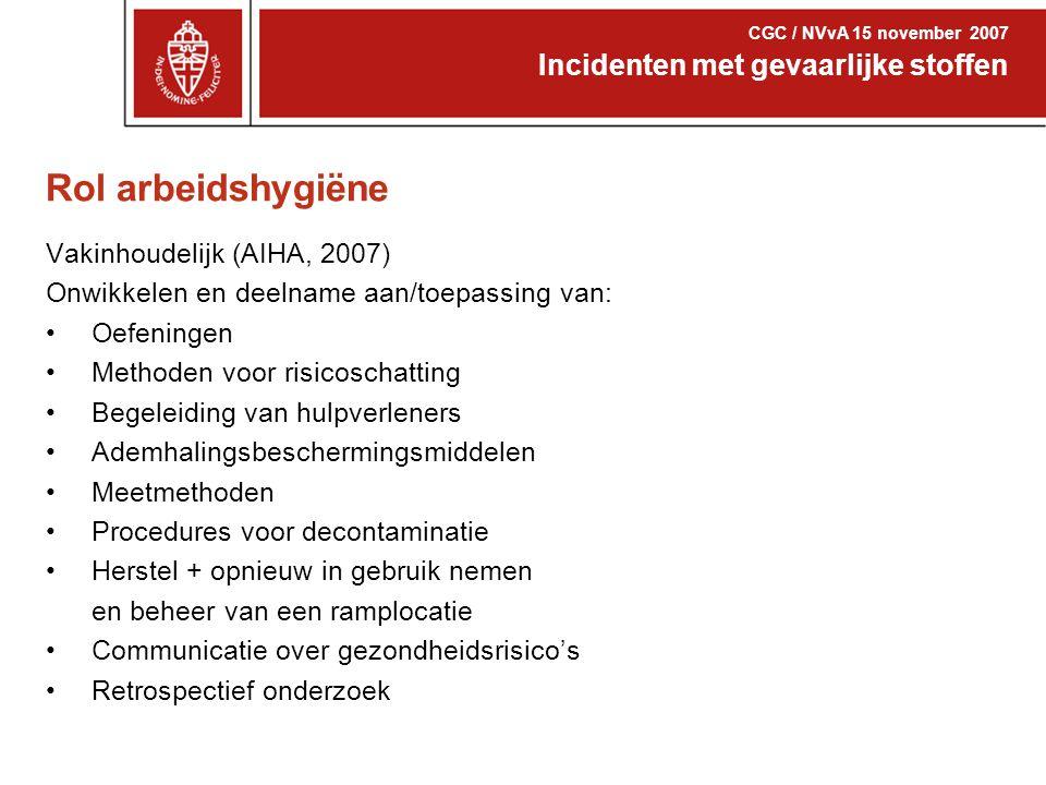 Rol arbeidshygiëne Incidenten met gevaarlijke stoffen