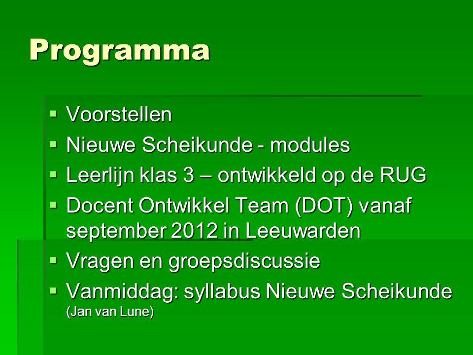 Programma Voorstellen Nieuwe Scheikunde - modules